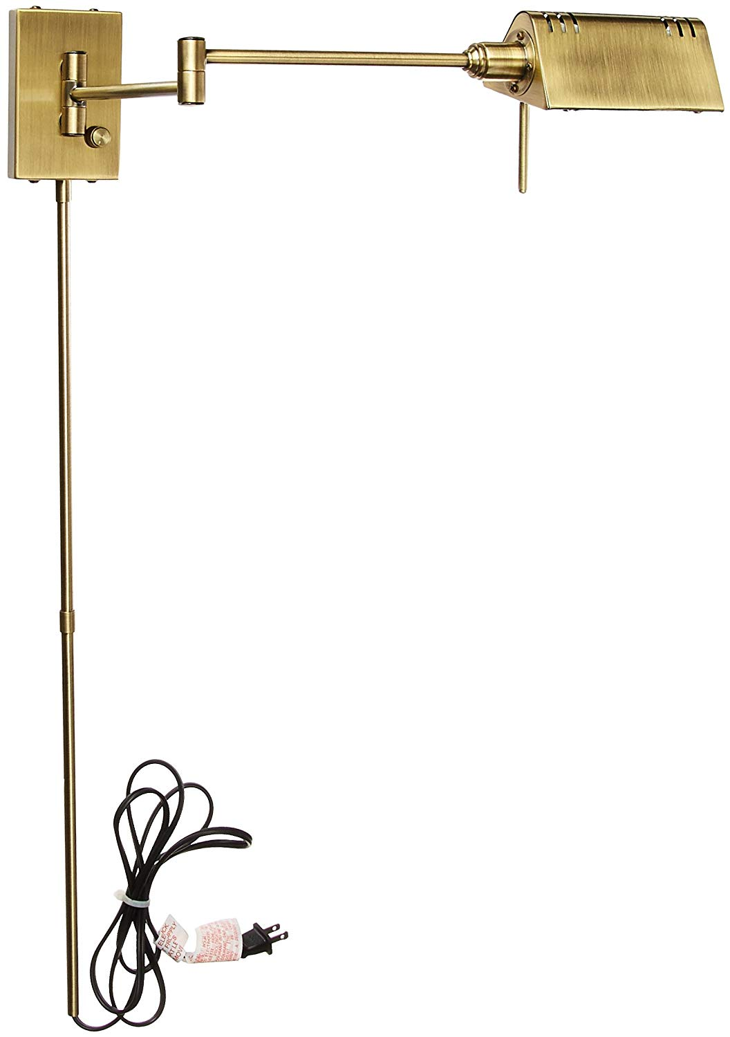 Lite Source LS-1101AB Pharma Collection Swing Arm Wall Lamp with Antique Brass Metal Shade, Antique Brass