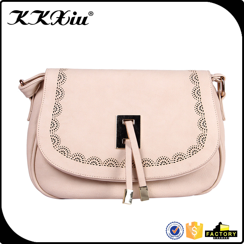 2016 long shoulder strap hollow out saddle bag for lady