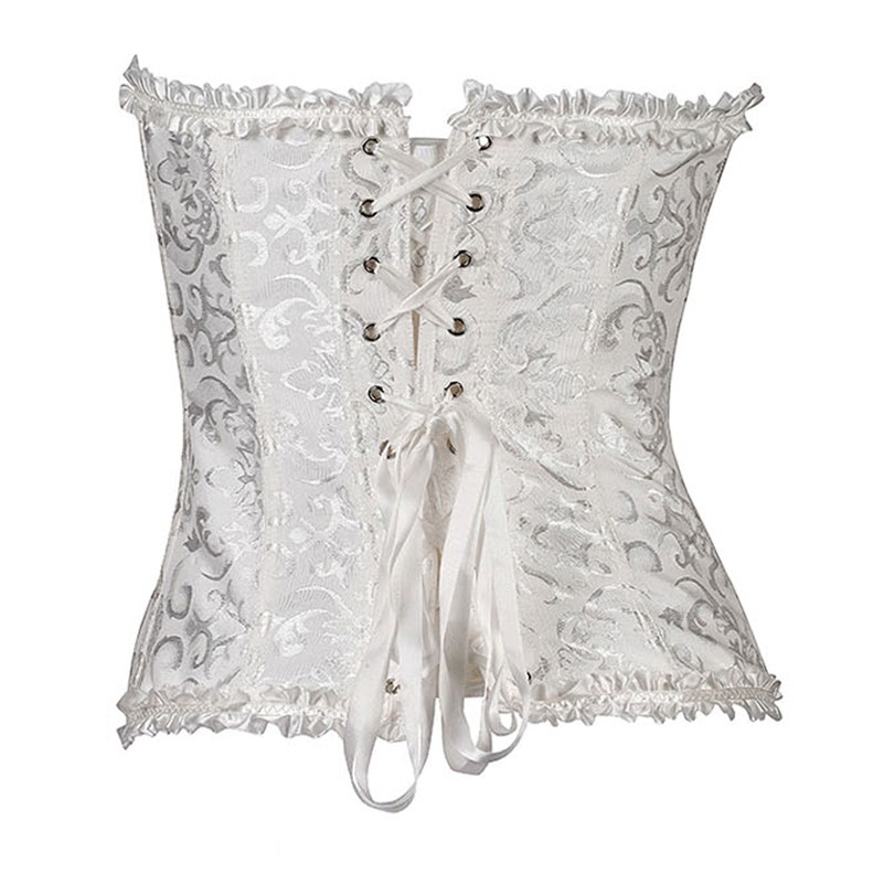 b183adc0464 2019 Sexy Lady Lace Corset Metal Button Front With Bowknot Lace Up ...