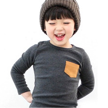 Wholesale Baby Kids Long Sleeve Crewneck T-shirt Pocket Decor Boy Girl Shirt Clothes 2-7 Y Free Shipping