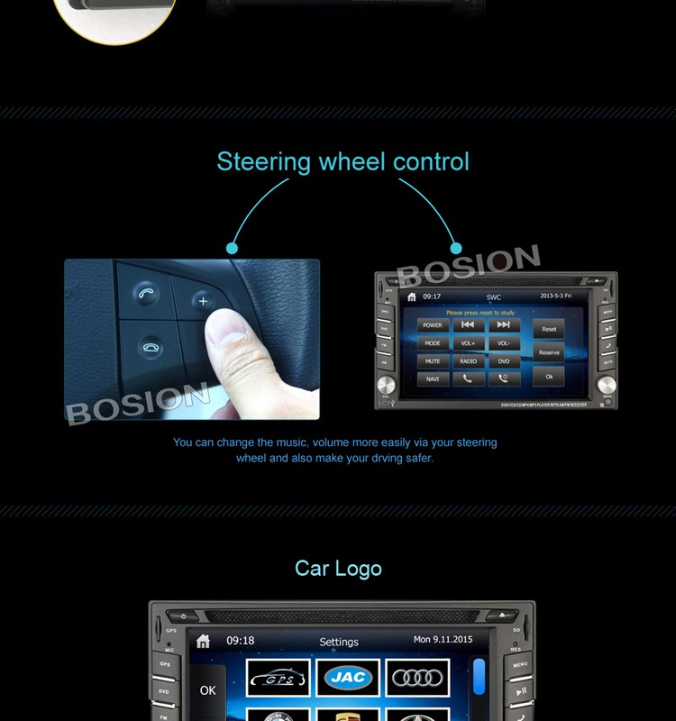 2 Din Universal Hd Touch Screen Car Radio Gps Dvd For