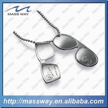 hot sell sunglass silver trend metal dog tag pendant
