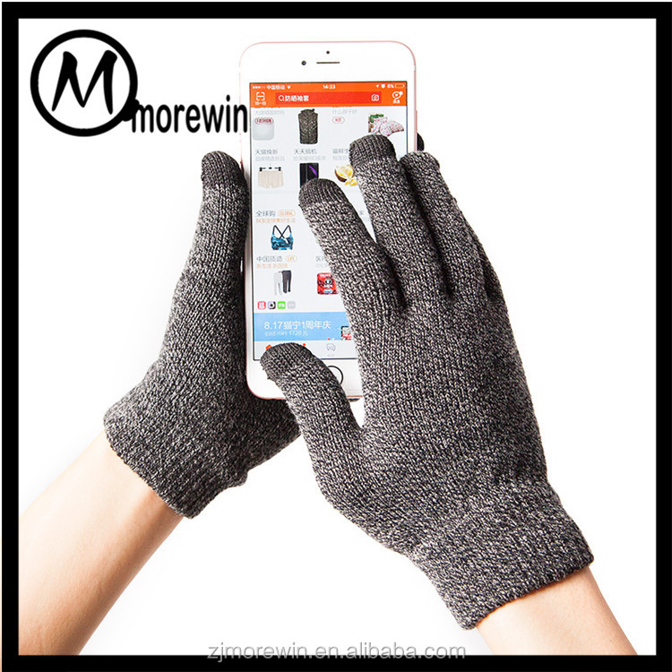 Morewin Brand Wholesale Grey Lover Couple Gloves Man 3 Finger Touch Screen Gloves For Woman