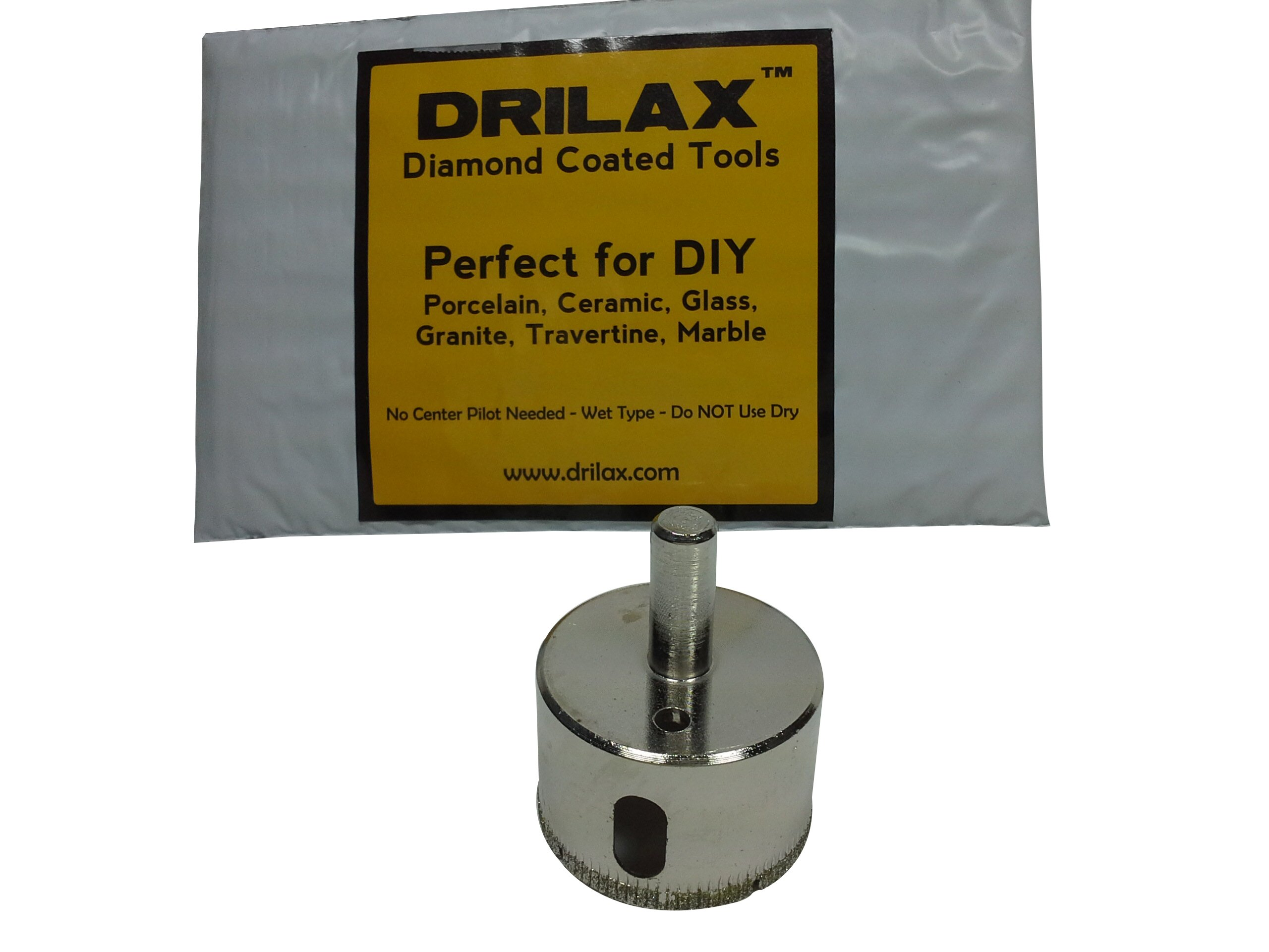 """Drilax 1 3/4 Inch Diamond Hole Saw Drill Bit Tiles, Glass, Fish Tanks, Marble, Granite Countertop, Ceramic, Porcelain, Coated Core Bits Holesaw DIY Kitchen, Bathroom, Shower, Faucet Installation Size 1 3/4"""" Inches"""