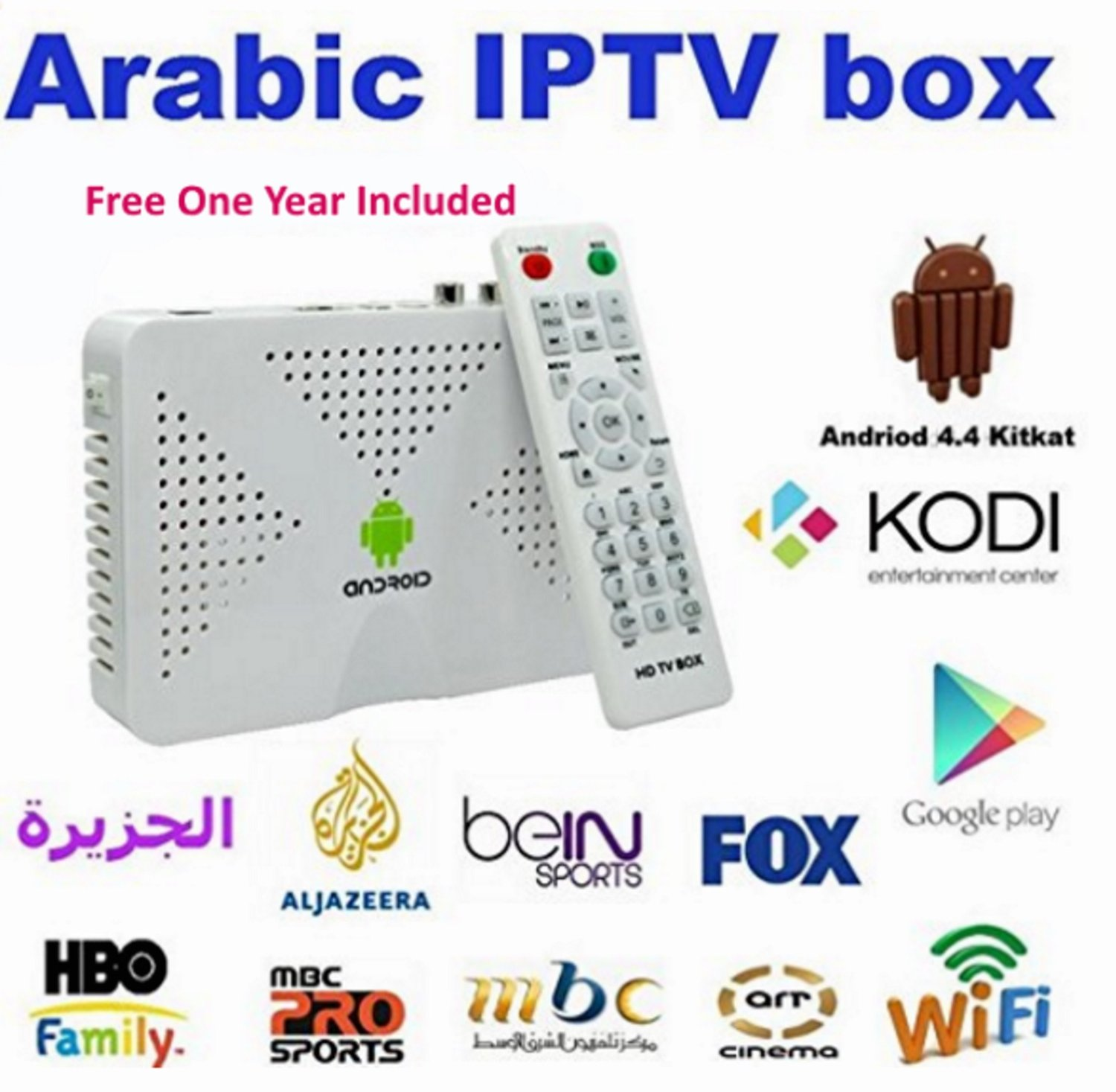Buy Quad Core S805 Android Tv Box Arabic Iptv Account for 2 Year Box
