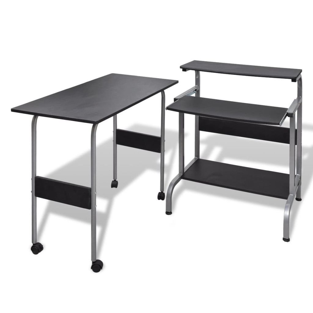 "Black Adjustable Office Desk Compact Computer Desk with a Sliding, Pull-out Keyboard Shelf Computer Desk Dimension 26"" x 19.3"" x 33"""