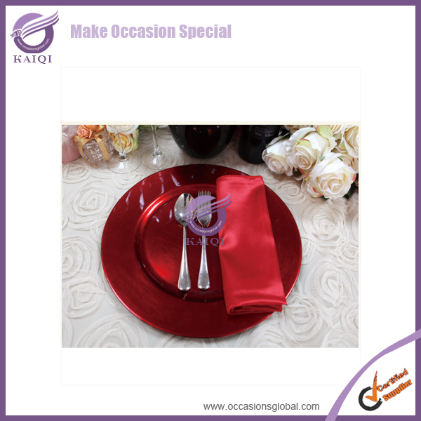 18598 Melanin Tableware plastic charger Plates Coloured for wedding event