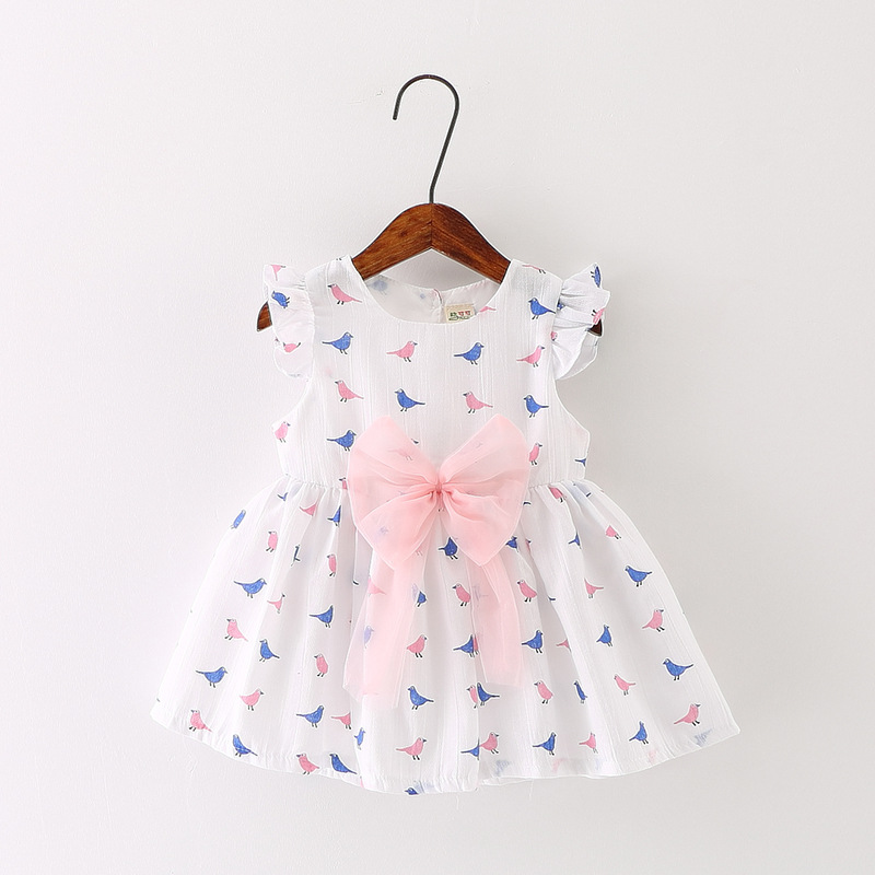 Modear 2017 Summer Children Clothing Bird Printed Bowknot Birthday Princess Party Dresses