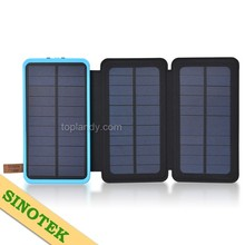 SINOTEK durable 3.9w 2 folds portable solar panel mobile power bank 20000mah