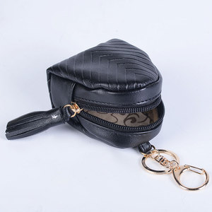 Yiwu factory PU leather mini bag charm coin purse wallet pocket clip keychain keychain for Children