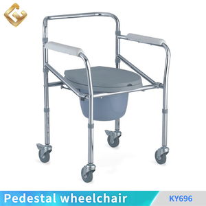 Low price shower wheelchair light steel fixed commode shower seat chair simple device commode wheelchair