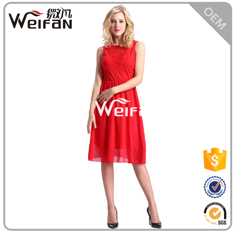 Beautiful Red Color Chiffon Summer Casual Dress Ladies Executive Smart Casual Dinner Dresses