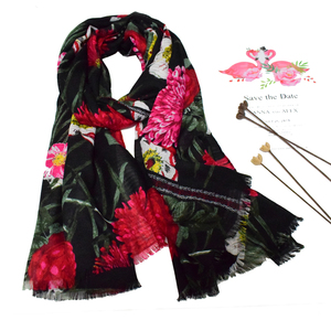 High Quality Black Color Floral Printed Cotton Party Scarf Shawl With Fringe
