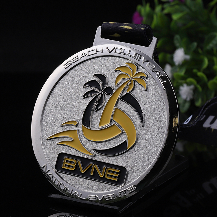 Zinc alloy cheap  custom metal 2d silver enamel volleyball award medal with ribbon