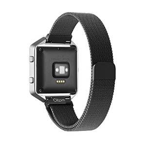 Fitbit Blaze Accessory Band Large (6.3-9.1 in),Oitom Milanese loop stailess steel Bracelet Strap for Fitbit Blaze Smart Fitness Watch, Black, Silver, Large with unique Magnet lock (Black)