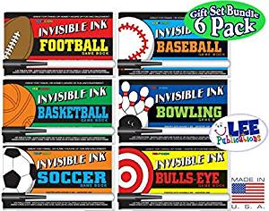 """Invisible Ink: Yes & Know Sports Game Books """"Football"""", """"Baseball"""", """"Basketball"""", """"Soccer"""", """"Bowling"""" & """"Bulls-Eye"""" Activity Books Gift Set Bundle - 6 Pack"""