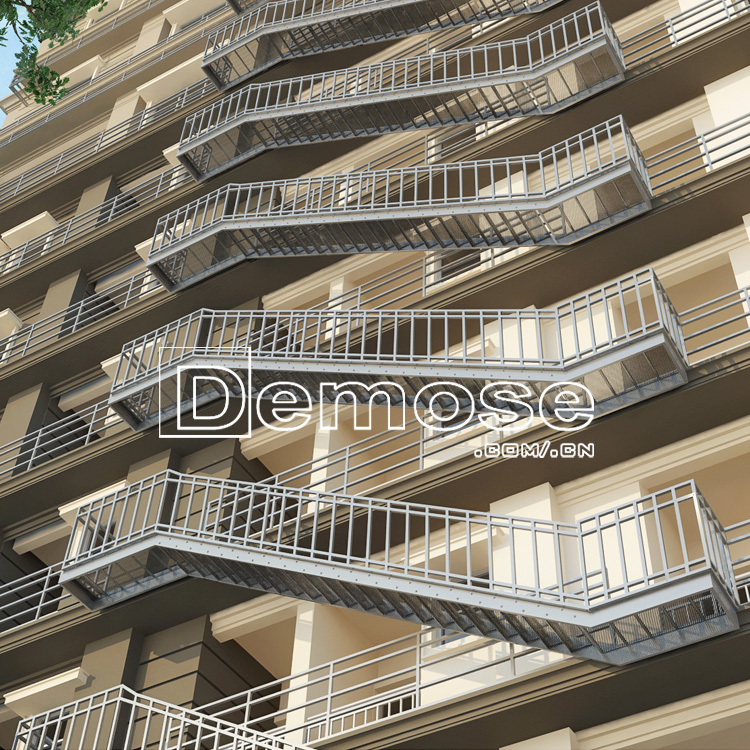 Hotel Standard Steel Fire Escape Staircase