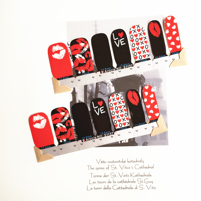 Red Sex Lips Nail Arts Sticker 14 pcs set Waterproof Nail Decal Art Sticker Gel Polish