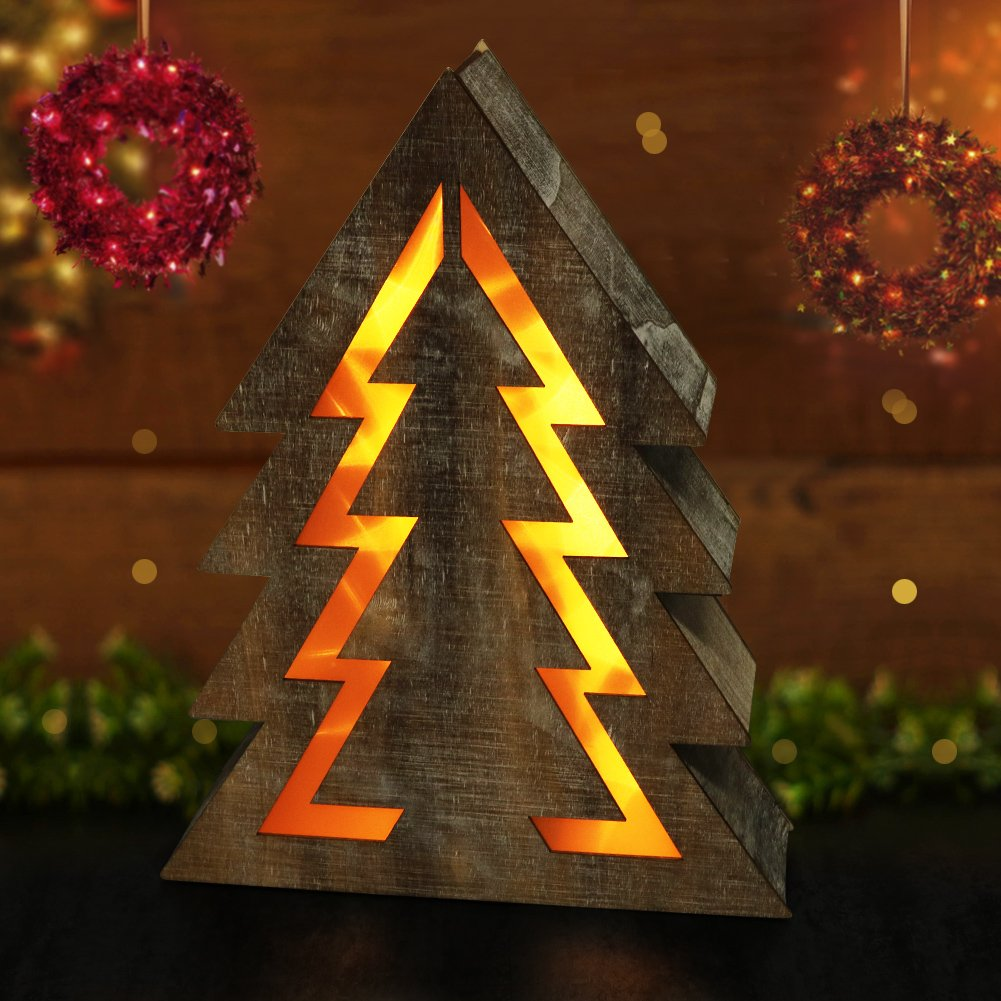 "BRIGHT ZEAL Wooden Christmas Tree with LED Lights (14.5"" Tall Christmas Tree Shape, 8hr Timer, Batteries Included) - Wooden Xmas Tree Decorations - Christmas Tree Shaped Lights Decorative Signs"