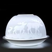 Decorative Geometric Candle Holder Material, Dome Shaped Porcelain Tea Light Candle Holder