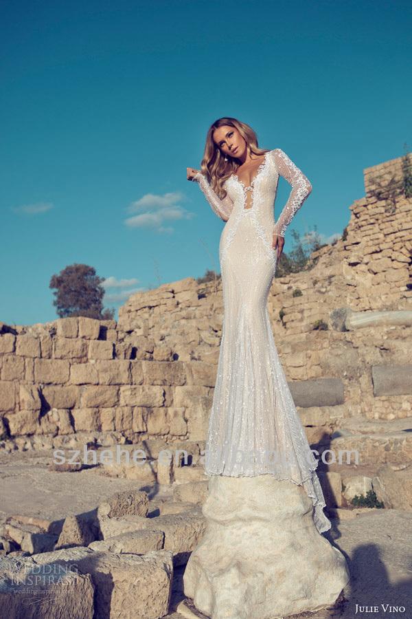 Livraison Gratuite Cy1297 Vogue Sirène Dos Nu Longues Manches En Dentelle Robes De Mariée 2014 Julie Vino