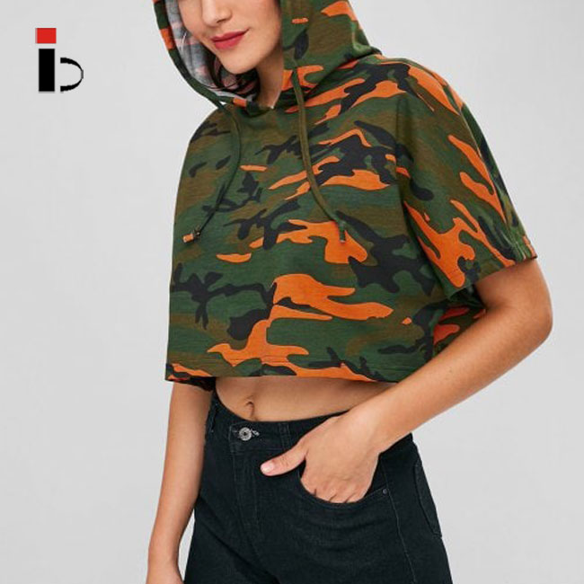 Betteractive Camo Cropped Oversized Hoodie for Women
