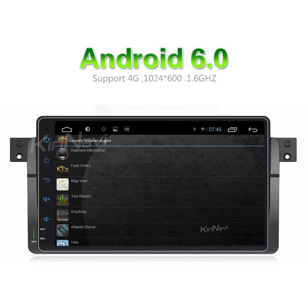 "KiriNavi WC-BW9019 9"" andriod 6.0 car gps navigation for bmw e46 android 1998 - 2006 touch screen"