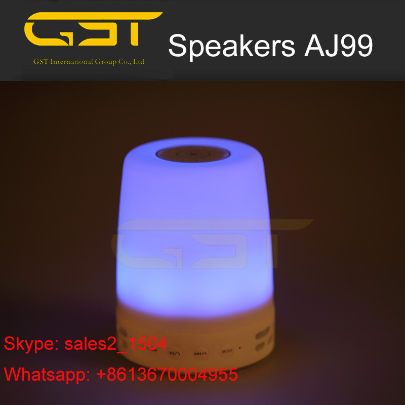 AJ99 Smart speakers bluetooth 2016 with led wireless mobile/ desktop speaker, LED Night Light Bedside bluetooth speaker