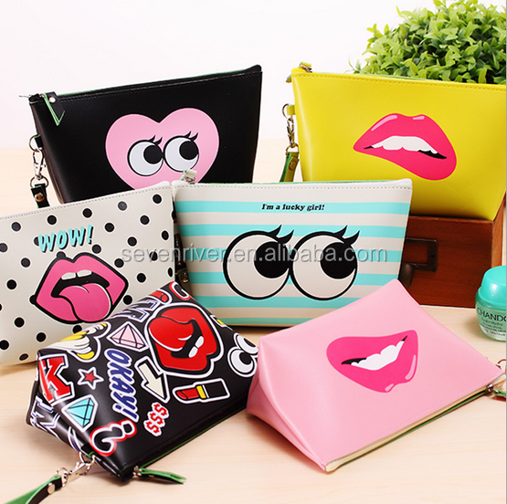 Hot Selling Waterproof PU Leather Cartoon Hand Makeup Bag/Organizer Bag/Toiletry Bag