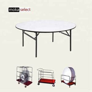 wholesale heavy duty custom cheap used metal folding wooden leg 10 people 8ft 6ft round banquet hall buffet dining tables