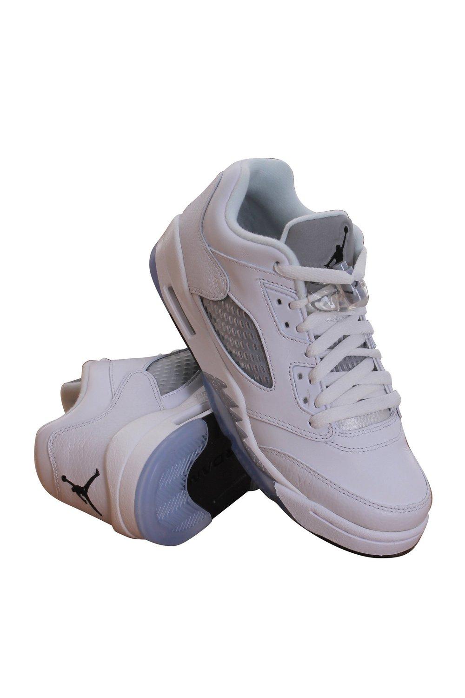 quality design 923d7 f5bcb Nike Air Jordan Junior Big Kids Retro 5 Low White Leather Fashion Sneakers 8