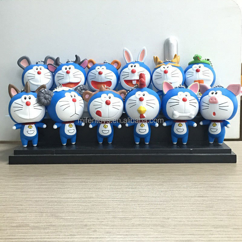 Doraemon 12 China doziacs dragon snake horse sheep goat rat cow tiger rabbit monkey chicken dog pig key decoration Pendant chain