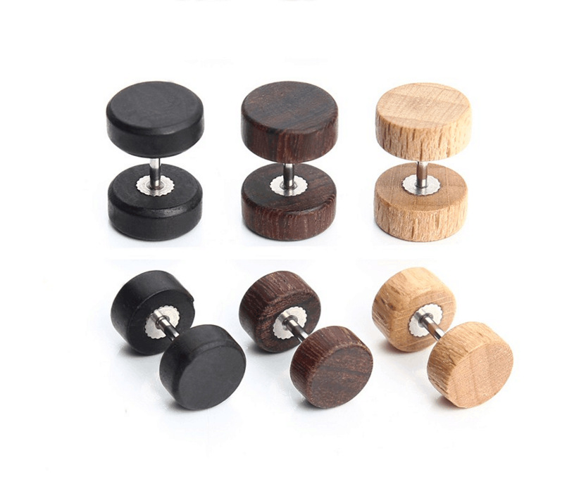 EH0276JN 2017 Wholesale Fashion vintage luxury wood african spiral dumbbells mens earrings designs new model jewelry women