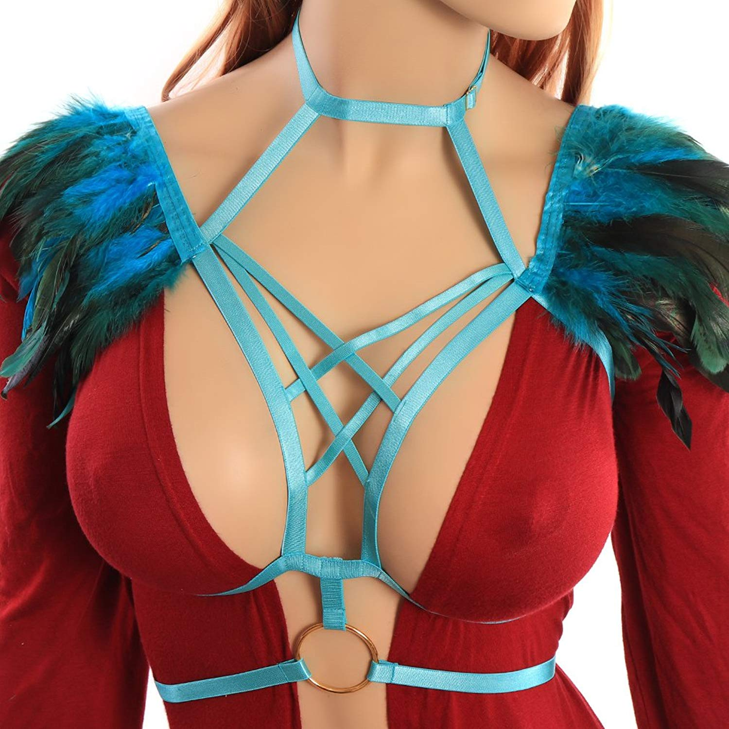 5e993d01d36a8 Feather Harness Strappy Shawl Body Harness Bra Sexy Rave Top Elastic Gothic  Cage Adjustable Plus Size