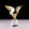 Metal gold eagle wing with crystal base K9 crystal trophy manufacturers customized crystal awards trophies