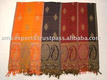 100% Woolen Jamawar Muffler with all over design, Reversible Muffler Shawls