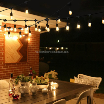 Worbest Outdoor String Lights 48ft With Led Bulbs S14 Cri80 Heavy Duty Garden Hanging Market Patio Cafe Pergola Rope Buy Commercial String