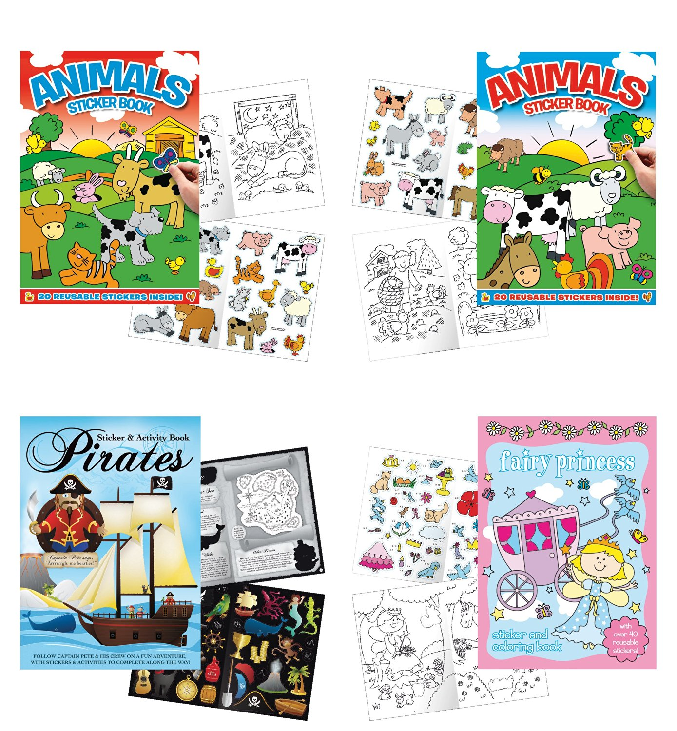 """Get Quotations · Childrens Sticker Activity Books - Pack of 4 Books 8.25"""" x  11.5"""" - Farm"""