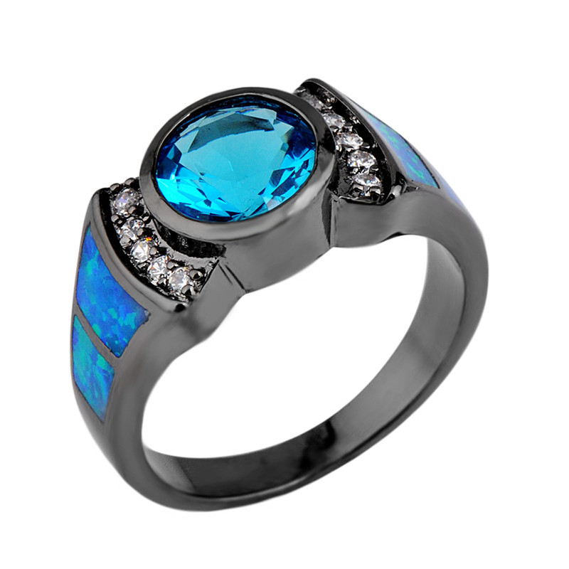 Women/Men Ring Anel Vintage Aquamarine Sapphire Jewelry Blue Fire Opal Engagement Rings Black Gold Filled White CZ Wedding Band