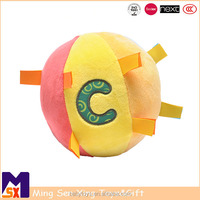 Custom stuffed plush ball toy w/ colored ribbons for baby