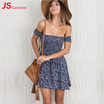 JS 20 2019 High Quality Wholesale Latest Party Floral Printed Wear Off Shoulder Dresses For Women 0404
