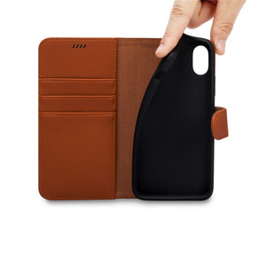 Customized logo card slot phone case for iphone x 10 brown leather phone shell cover