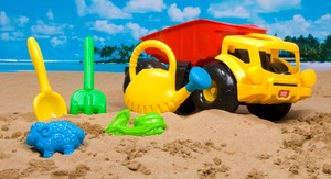 Newest 2 beach shovel and bucket kids beach toy truck, beach tools toy