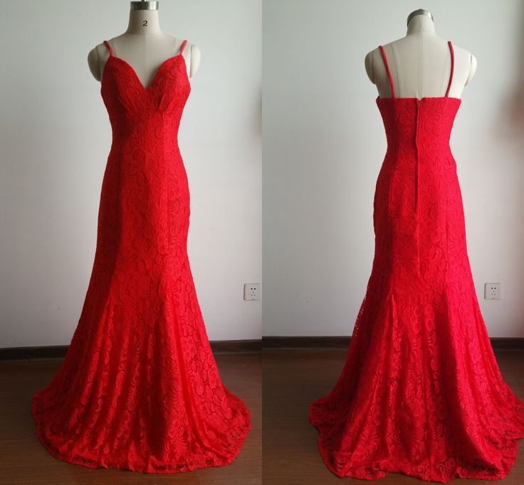 Red/Purple/Pink Mermaid Long Evening Dresses Lace ...