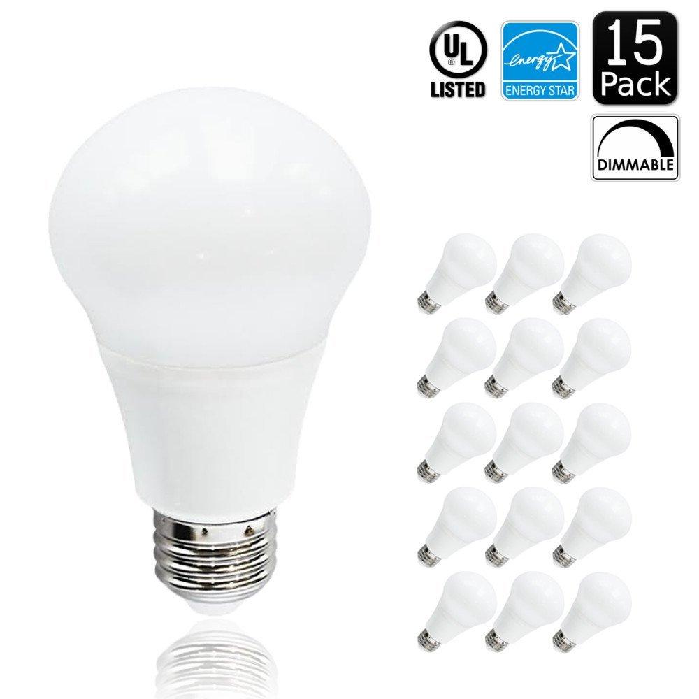 Luxrite LR21089 (15-Pack) 10-Watt Dimmable LED A19 Bulb, 60-Watt Equivalent, 5000K Bright White, 800 Lumens, 300° Omni Directional, Medium Screw Base (E26), Energy Star-Qualified, UL-Listed