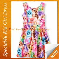 Fashion Modern Baby Girls sleeveless colourful cats design baby dress modern Lyd-375