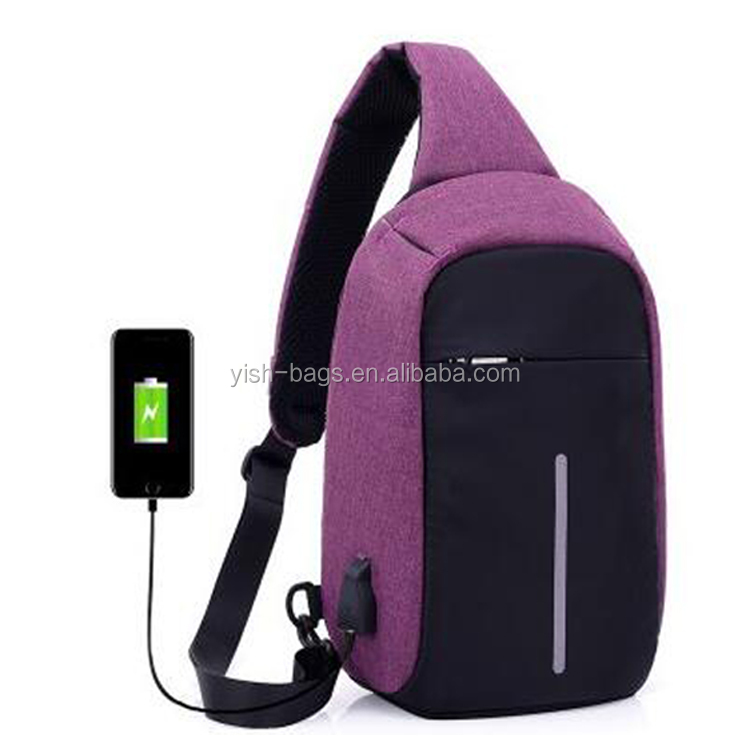 Hot Selling Camping Oxford Material new style USB One Strap Backpack