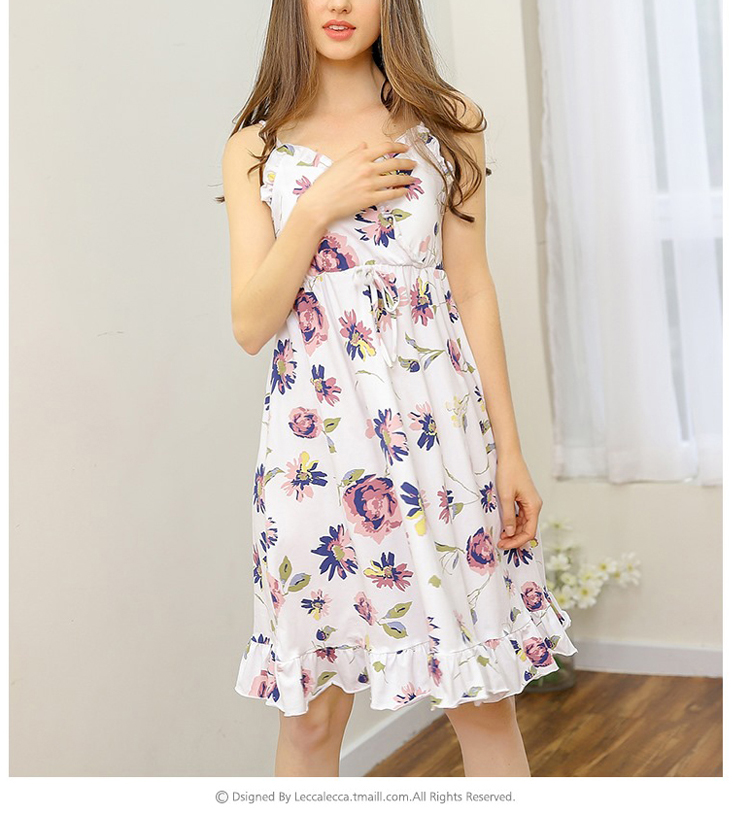 Women Sexy Night Sleeping Dress 100 Cotton Knee Length Flower Dress