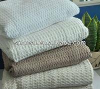cotton waffle dobby woven throw blanket