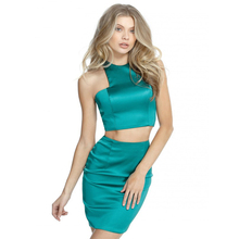 2018 Sexy New Two Pieces Arabic Green Prom Dress Adults Age Group Party Bodycon gowns